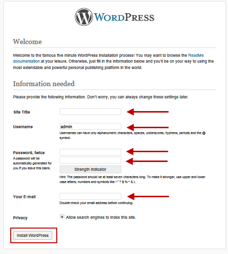 wordpress-first-page-install-wizard